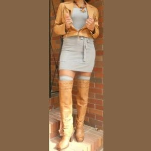 Over The Knee Boots, Tan Leather, Size 8.5